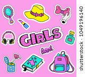 fashion girlish patch badges... | Shutterstock .eps vector #1049196140