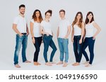 casual relaxed barefoot group... | Shutterstock . vector #1049196590