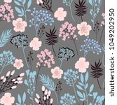 trendy summer floral seamless... | Shutterstock .eps vector #1049202950