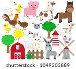 cute farm animals. cow  horse ...   Shutterstock .eps vector #1049203889