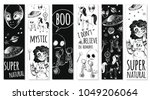set of bookmarks. flying saucer ... | Shutterstock .eps vector #1049206064