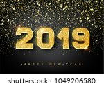 2019 happy new year. gold... | Shutterstock .eps vector #1049206580