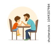cheerful cute father and son...   Shutterstock .eps vector #1049207984