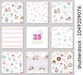 birthday templates set. cute... | Shutterstock .eps vector #1049209076