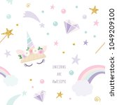 unicorn magic seamless pattern... | Shutterstock .eps vector #1049209100
