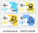 Beautiful vector hand drawn dairy products card set. Detailed trendy style backgrounds. Modern sketch elements collection for packaging design. | Shutterstock vector #1049214638