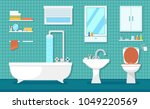 furnishing bathroom interior | Shutterstock .eps vector #1049220569