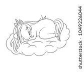 unicorn baby asleep on a cloud  ... | Shutterstock .eps vector #1049226044