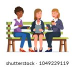 three business woman sitting on ... | Shutterstock .eps vector #1049229119