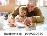 cute little baby toddler girl... | Shutterstock . vector #1049230730