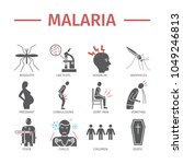 malaria flat icon infographics. ... | Shutterstock .eps vector #1049246813