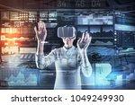 combining realities.... | Shutterstock . vector #1049249930