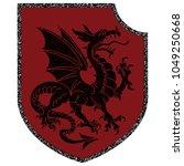 winged heraldic dragon and...   Shutterstock .eps vector #1049250668