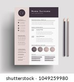 beautiful cv   resume template  ... | Shutterstock .eps vector #1049259980