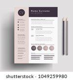 beautiful cv   resume template  ... | Shutterstock .eps vector #1049259980