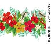 seamless tropical hand drawn... | Shutterstock .eps vector #1049260058