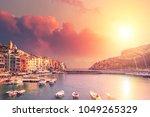 Picturesque harbour of Porto Venere at sunset, Italian Riviera, Liguria, Italy - stock photo