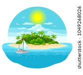 illustration of tropical island ... | Shutterstock .eps vector #1049268026