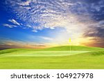 golf course with beautiful sky | Shutterstock . vector #104927978