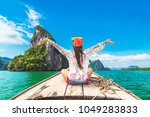 traveler woman in summer dress... | Shutterstock . vector #1049283833