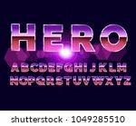 80's retro alphabet font. sci... | Shutterstock .eps vector #1049285510