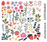 set of floral elements. wreath... | Shutterstock .eps vector #1049286860