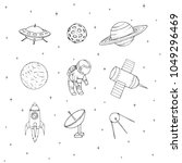 hand drawn vector space...   Shutterstock .eps vector #1049296469