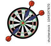 cartoon dartboard with darts...   Shutterstock .eps vector #1049297870