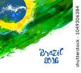 brazilian watercolor flag.... | Shutterstock . vector #1049306384