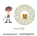 children's maze with pirate and ... | Shutterstock .eps vector #1049306876