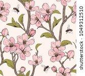 blooming tree. seamless pattern ...   Shutterstock .eps vector #1049312510