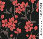 blooming tree. seamless pattern ... | Shutterstock .eps vector #1049312513
