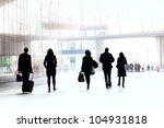 people walking against the... | Shutterstock . vector #104931818