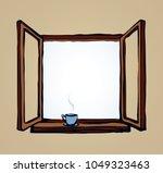 old double pvc sash pane on... | Shutterstock .eps vector #1049323463