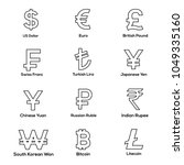 currencies symbol icons set.... | Shutterstock .eps vector #1049335160