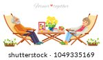 senior couple relaxing in... | Shutterstock .eps vector #1049335169