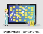 young character cleaning up the ... | Shutterstock .eps vector #1049349788