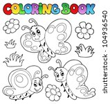 coloring book with butterflies... | Shutterstock .eps vector #104936540