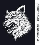 wolf head in hat. old school... | Shutterstock .eps vector #1049368880