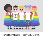 lgbtq community. happy hugging... | Shutterstock .eps vector #1049372546