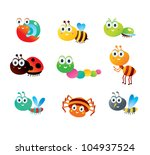 happy insect collection | Shutterstock .eps vector #104937524