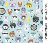 Stock vector cartoon cute animal tribal faces boho cute animals vector pattern 1049376728