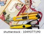 scrapbook background. card and...   Shutterstock . vector #1049377190