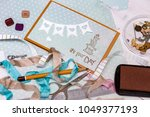 scrapbook background. card and... | Shutterstock . vector #1049377193