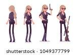 secret agent woman  lady spy of ... | Shutterstock .eps vector #1049377799