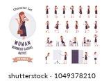 pretty female office employee... | Shutterstock .eps vector #1049378210