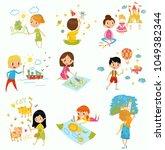 cute little boys and girls... | Shutterstock .eps vector #1049382344