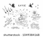 set of hand drawn traditional... | Shutterstock .eps vector #1049384168