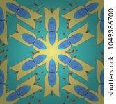 hand painted vector mandala ... | Shutterstock .eps vector #1049386700