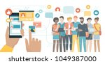 user social networking and... | Shutterstock .eps vector #1049387000